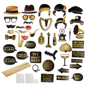 42pcs Roaring 1920s Gatsby Themed Photo Booth Props Party Selfie Kit