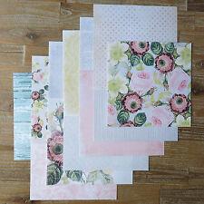 "12 sheets 8x8"" scrapbooking paper pink vintage rose black white polka dot 120gsm"
