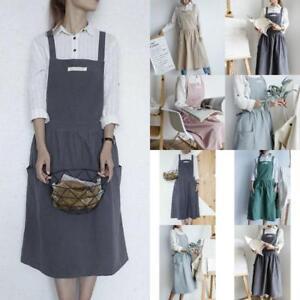847052b1e1 Image is loading Womens-Bib-Apron-Cotton-Linen-Sleeveless-Pinafore-Dress-
