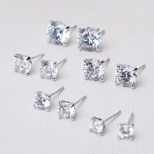 925 Solid Silver Classic Crystal Stud Earrings Cubic Zirconia Clear Ear Gift CZ