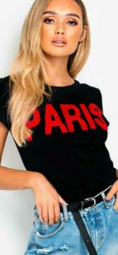 New Women/'s Ladies  Paris Slogan Print Round Neck Short Sleeve Top T-Shirt