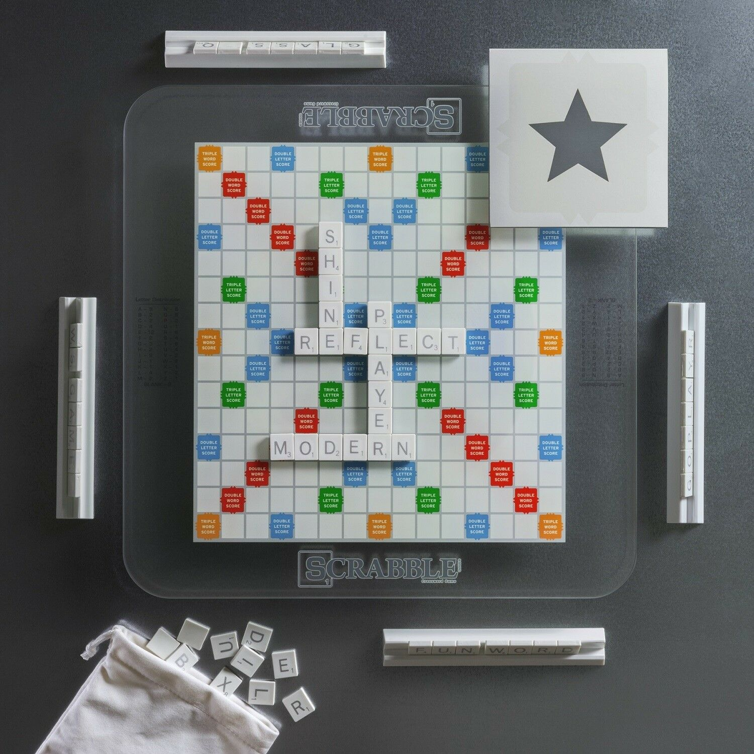 Winning Solutions Scrabble Temperojo Glass Edition Board Game NEW