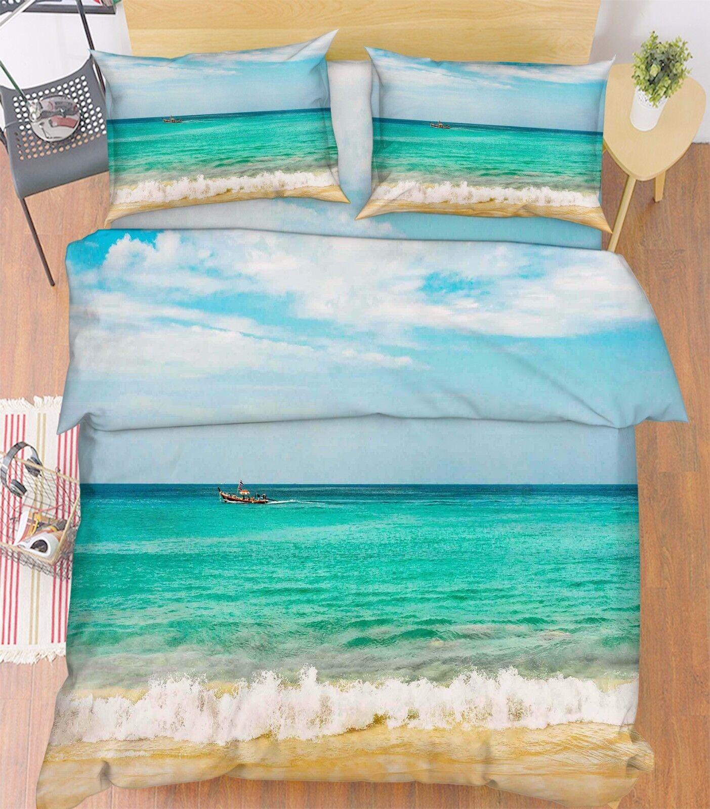 3D Waves Boat Sky 814 Bed Pillowcases Quilt Duvet Cover Set Single Queen UK Kyra
