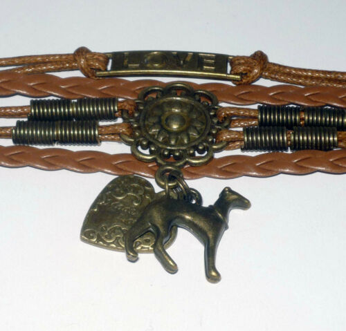 Brown Wrap Bracelet Made with Love w Bronze Heart and Greyhound Dog Charms