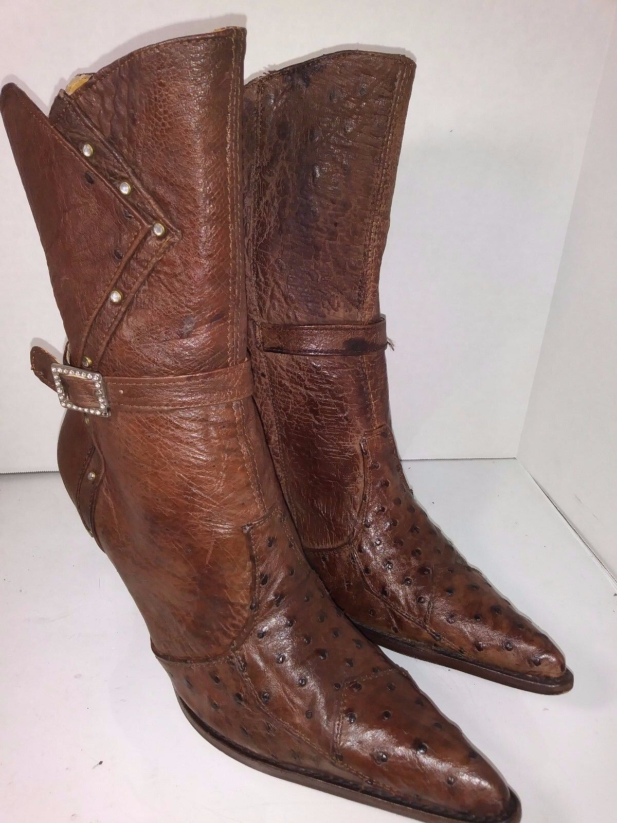 Premier Brown Ostrich Leather Womens Western Heels Ankle Boots Womens Leather Size 7 958421