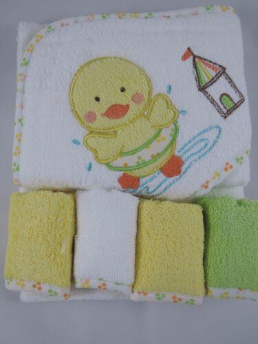 Kapuzenhandtuch Badetuch Ente mit 4 kleinen Waschlappen