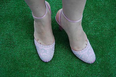 Morgan de toi GYARU LOLITA bordado de satén rosa Tacones Gruesos Tribunal Zapatos 6