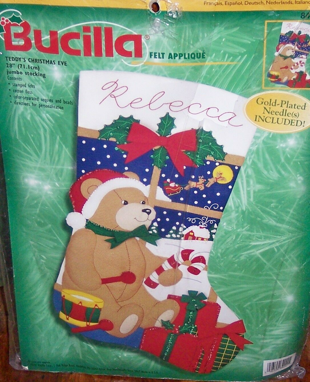 Bucilla Jumbo Stocking Felt Applique Holiday Kit Teddy\'s Christmas ...