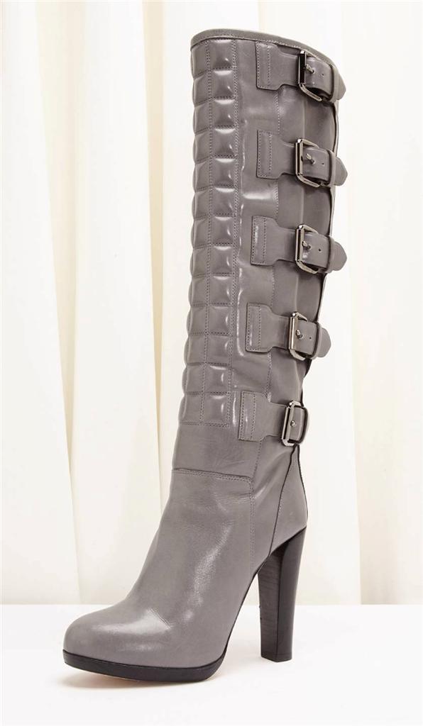 Reed Krakoff Grau Leder Multi Schnalle Detail Reitstiefel