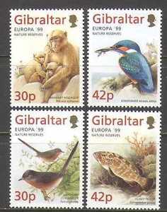 Gibraltar-1999-Europa-Parks-Birds-Fish-Apes-Nature-Animals-4v-set-n22944