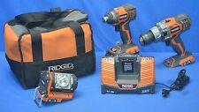 RIDGID R9200 18v Hyper Lithium-Ion Hammer Drill/Driver Impact Driver Light Kit