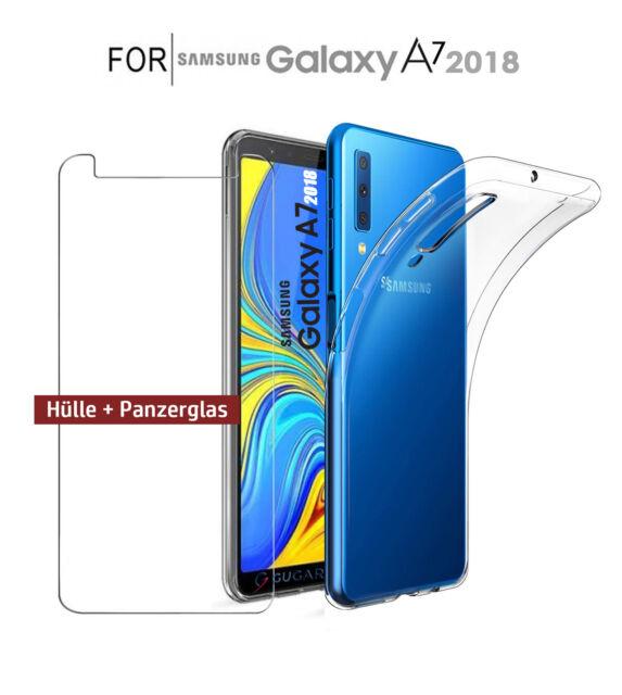 Samsung Galaxy A7 2018 Hülle Case Transparent Schutzhülle + Panzer Schutz Glas