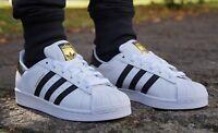 Neu Schuhe ADIDAS SUPERSTAR J FOUNDATION Weiss Damen Turnschuhe Sneaker C77154
