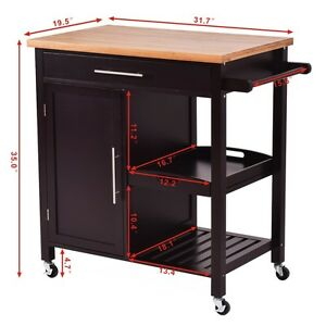 Image Is Loading Kitchen Portable Wooden Bamboo Kitchen Island Trolley Cart