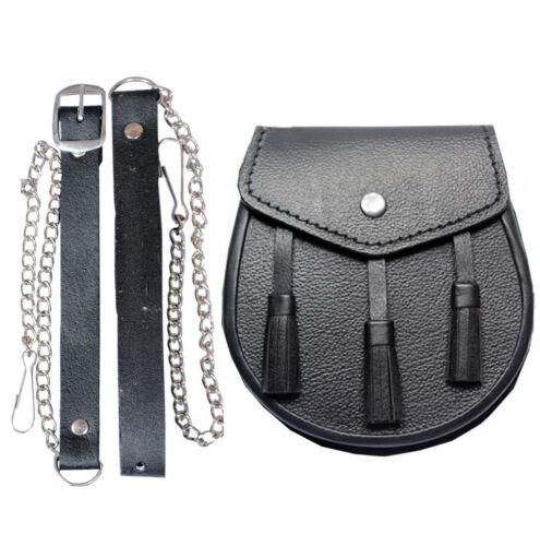 New Scottish Black Three Tassel Leather Sporran For Kilt With Free Chain Belt