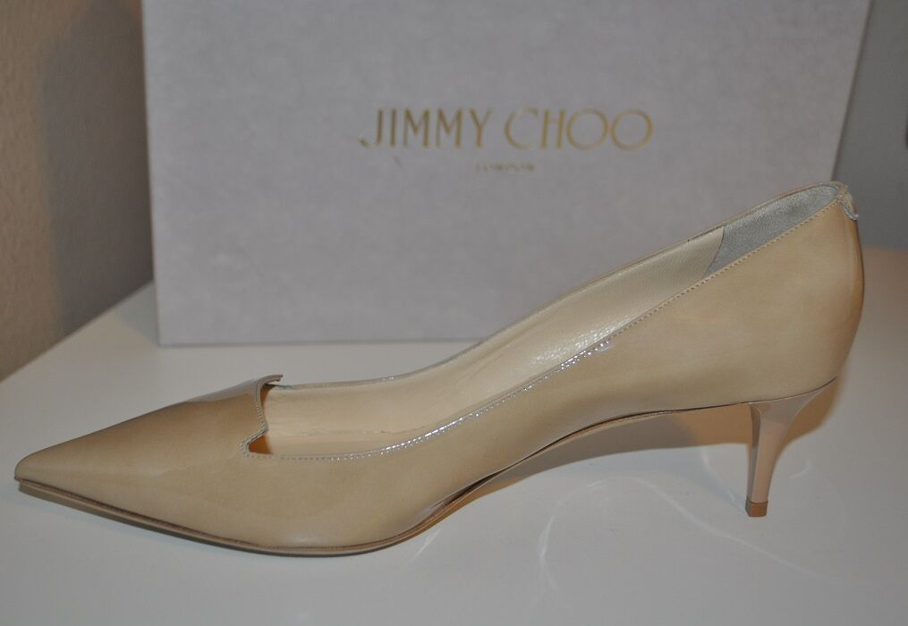 Jimmy Choo Allure Nude Patent  Leder Pointed Toe Pump - Kitten Heel schuhes 8.5 - Pump 8 4e500b