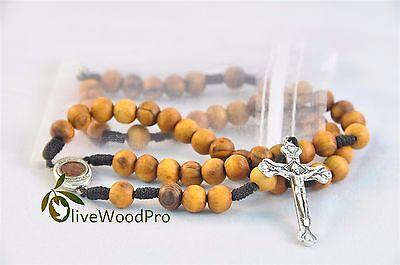 olive wood rosary NECKLACE catholic wooden JERUSALEM SOIL HOLY LAND BETHLEHEM