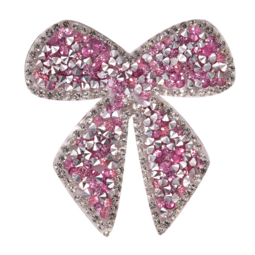 Rhinestones Bow Embroidered Patch Iron on Sewing Crystal Applique For Jeans /_sh
