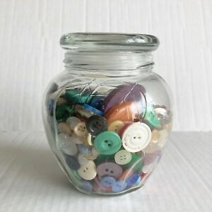 Vintage-Button-Jar-Glass-Apothecary-Jar-Mixed-Lot-Buttons-Sewing-Crafts