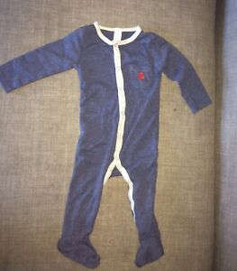 b464a0128 Petit Lem Baby Boys Heather Blue Long Sleeve Footed One Piece Romper ...