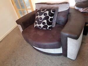 Large Swivel Round Cuddle Chair Chenille Fabric Grey Black ...