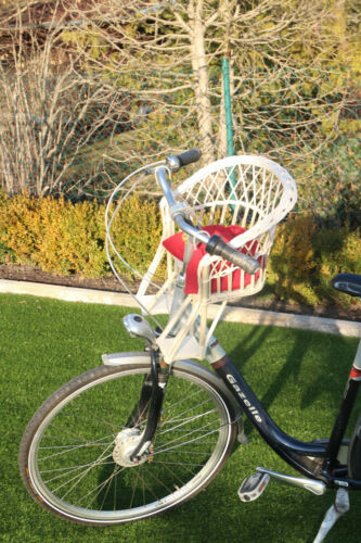 Kinderfahrradsitz Fahrradsitz Weiß Fahrradkorb vorne Weide Lenker  Weidenkorb