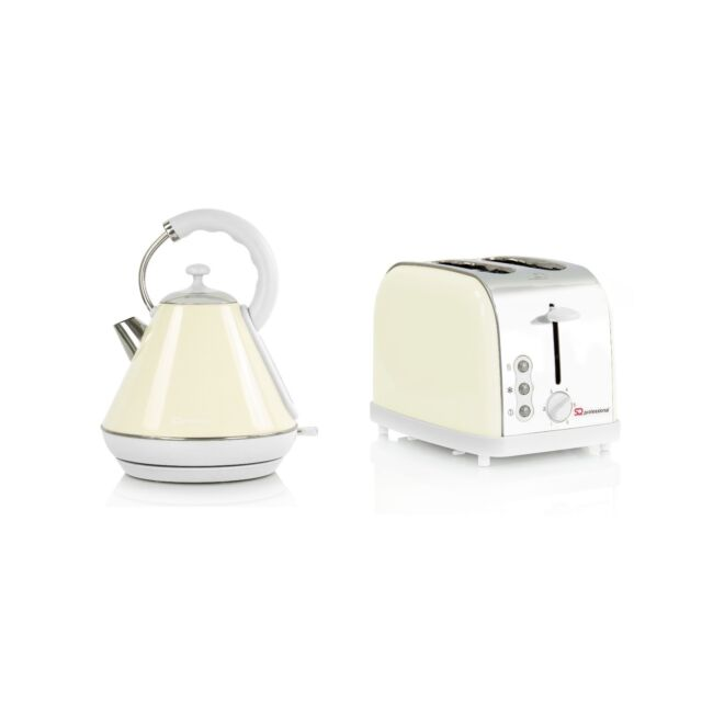 Cream 1.8L Kettle And 2 Slice Toaster Breakfast Set Fast Boil Washable Filter