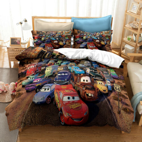 3D Bedding Set Cars Quilt Covers and Pillowcase Double Without Comforter