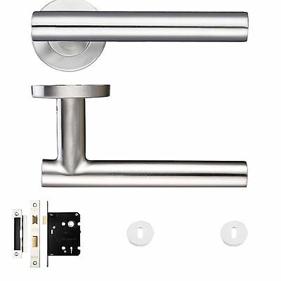 Curve T Bar Door Handle Pack Latch Set Satin Stainless Steel