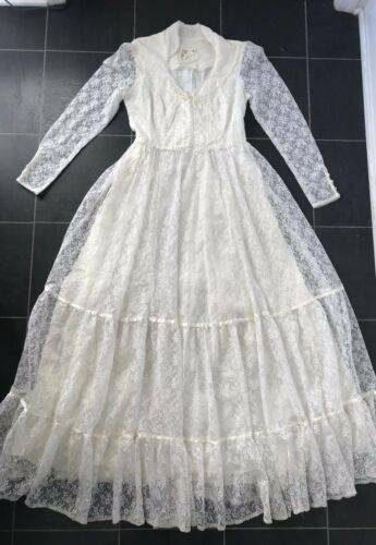 Vintage Gunne Sax Lace Corset White Prairie Weddin