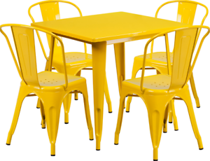 Image Is Loading Metal 5 Piece Dining Table Bistro Chair Set