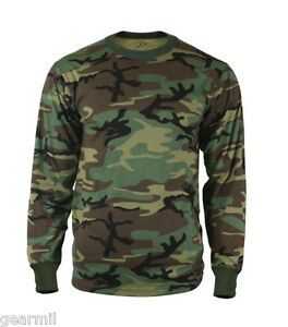 shirt long sleeve woodland camouflage army camo tee ebay. Black Bedroom Furniture Sets. Home Design Ideas