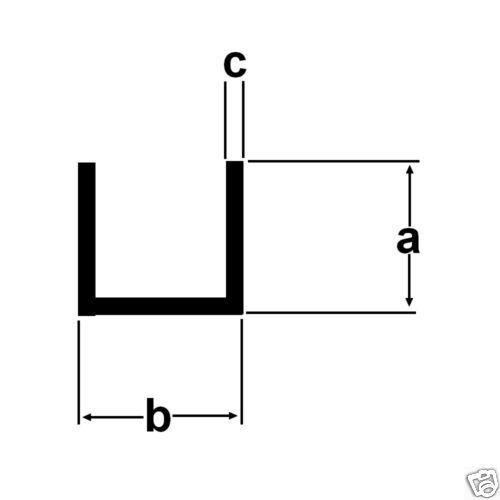4,05€//m Alu U-Profil 20x40x20x2mm Aluprofil 2 Meter