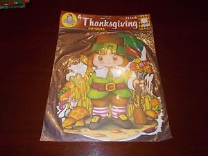 4 VTG BEISTLE THANKSGIVING PILGRIM INDIAN CARDBOARD DIECUTS CUTOUTS NOS MIP