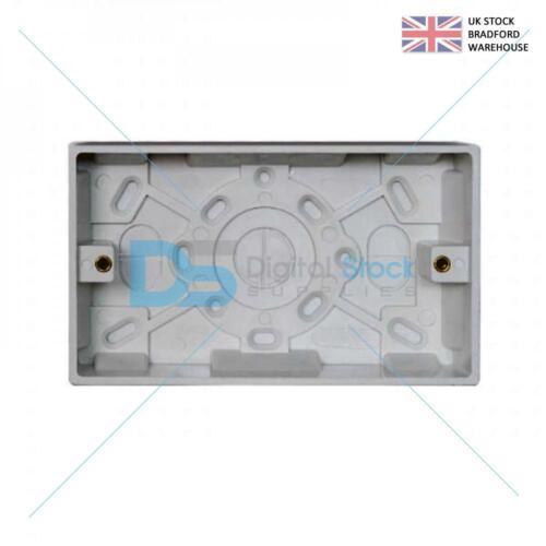 5 X Plastique Blanc Double 2 Gang 25 mm Deep Surface Pattress Socket Back Box
