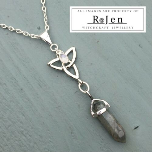 Silver Plated Labradorite Point /& Rainbow Moonstone Triquetra Pendant Wiccan