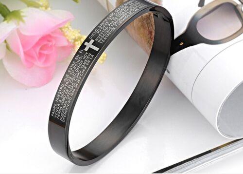 Croix Noire Couple Bracelet en acier inoxydable manchette Bracelets Love Paire Set Bracelet