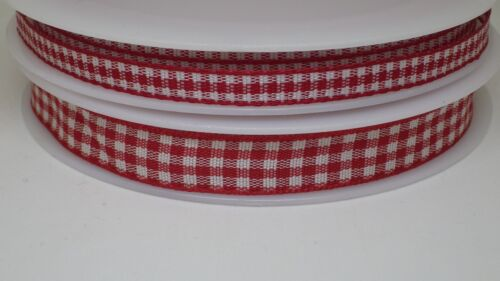 Red Gingham Check Ribbon 6mm or 10mm wide in 2m or 5m cut lengths free postage