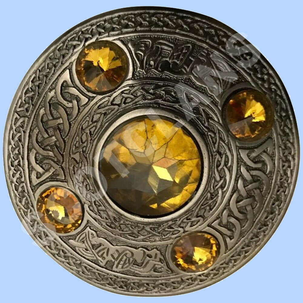 Scottish Kilt Fly Plaid Brooch Yellow 5 Stones Antique Celtic Pin & Brooch