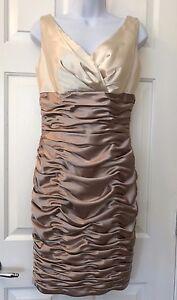 David-039-s-Bridal-Champagne-Cream-Gathered-Ruched-Bodycon-Short-Sleeveless-Dress-6
