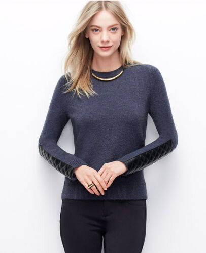Ann Taylor Woman/'s Pink or Blue Faux Leather Paneled Sleeve Sweater $98.00 16A