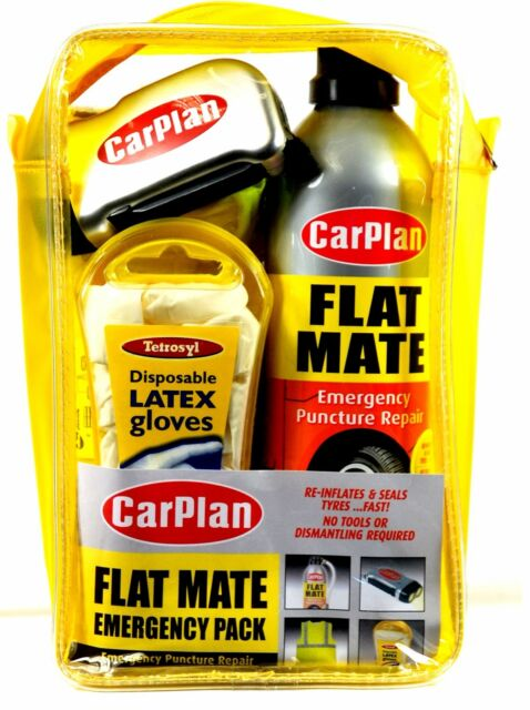 FLAT MATE EMERGENCY PACK PUNCTURE REPAIR RE-INFLATES & SEALS TYRES FAST