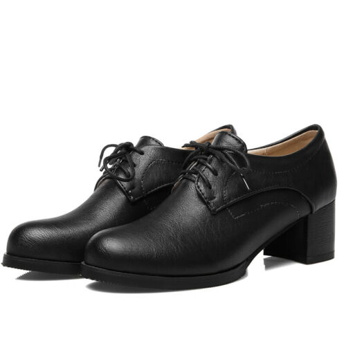 Women Girls Oxford Shoes Brogue Flats Block Heel Round Toe Lace Up Creepers