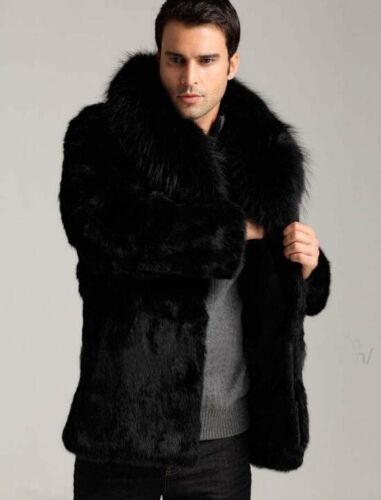 Winter Men/'s Faux Fox Collar Faux Mink Furry Long Fur Coat Jacket Outwear Black