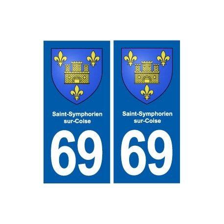 69 Saint-Symphorien-sur-Coise blason autocollant plaque stickers ville arrondis