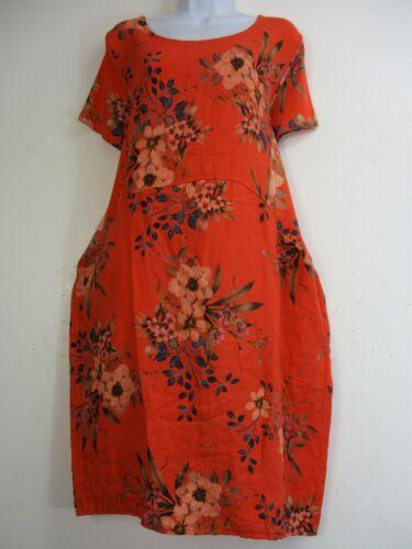 LAGEN LOOK LINEN SUMMER DRESS SHORT SLEEVE 10 COLOURS  ONE SIZE:PLUS 14-18