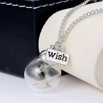 Fashion Women Real Dandelion Seeds Lucky Glass Wish Bottle Pendant Necklace Hot