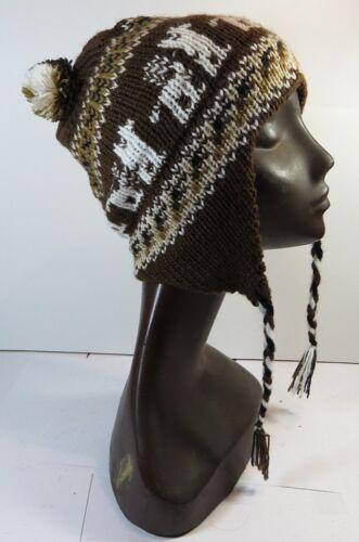 Chauds Bonnet Casquette marron foncé souple bonnet en laine alpaga Ku 48-56 cm NEUF