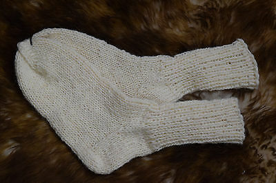 Womens Mens 100% Pure Natural Sheep's Wool Hand Knitted Socks