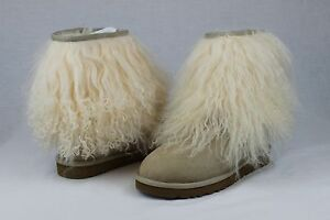 Image is loading UGG-CLASSIC-SHORT-CUFF-MONGOLIAN-SHEEPSKIN-SAND-BOOT-
